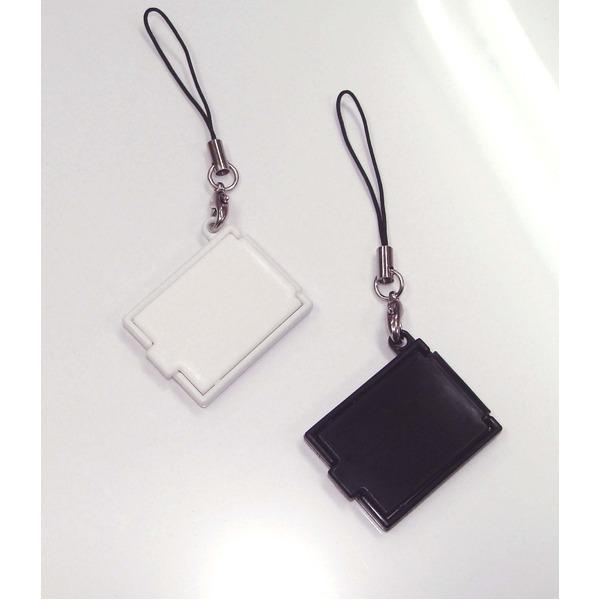 【化粧直しに最適!】携帯コンパクトミラー(ストラップ付) ブラック【5個セット】/日本製