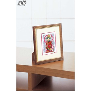 おめでたい七福■シルク版画/額付き 【インチサイズ】 吉岡浩太郎 「花神(ラメ入り)」 243×293×19mm 化粧箱入り 日本製