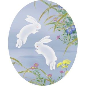 【ウサギと月の掛け軸】縁起の良いお月様掛軸 ■田村竹世 掛軸「月見兎」(尺三)