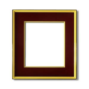 【色紙額】黒い縁に金色フレーム 色紙用 壁掛けひも ■黒金 色紙(マット付き)275×244mm エンジ 商品画像