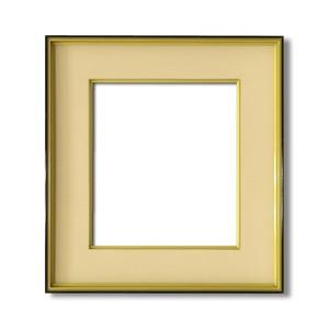 【色紙額】黒い縁に金色フレーム 色紙用 壁掛けひも ■黒金 色紙(マット付き)275×244mm ベージュ 商品画像