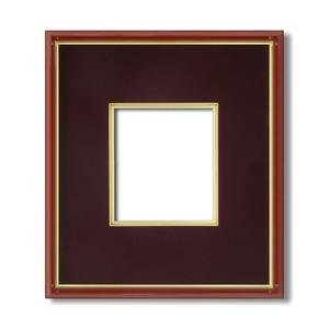【色紙額】赤い縁に金色フレーム 色紙用 壁掛けひも ■赤金 1/4色紙(マット付き)138×123mm エンジ 商品画像