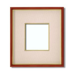 【色紙額】赤い縁に金色フレーム 色紙用 壁掛けひも ■赤金 1/4色紙(マット付き)138×123mm ベージュ 商品画像
