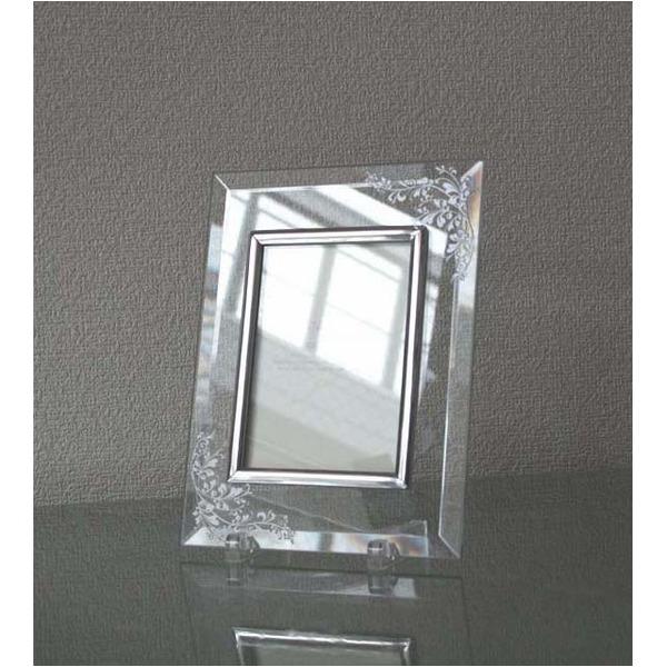 【彫刻】【日本製】レーザー彫刻クリスタルフォトフレーム/写真立て 【L版対応】 127×89mm