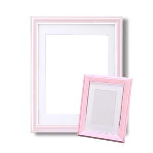 カラー遺影額セット『メモリアルセット』 ■【細い額】仏事用額・葬儀額セット(遺影額) 大小セットB(ピンク)