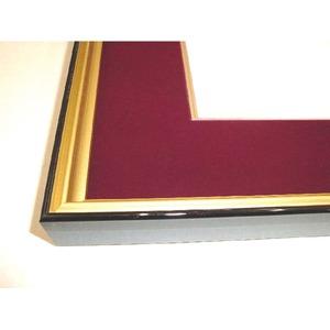 【和額】黒い縁に金色フレーム 日本画額 色紙額 木製フレーム ■黒金 色紙F4サイズ(333×242mm) エンジ