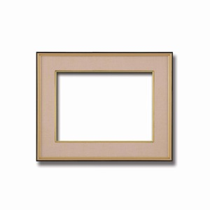 【和額】黒い縁に金色フレーム 日本画額 色紙額 木製フレーム ■黒金 色紙F6サイズ(410×318mm) ベージュの画像1