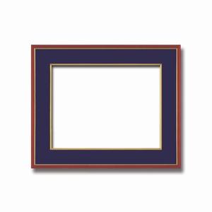 【和額】赤い縁に金色フレーム 日本画額 色紙額 木製フレーム ■赤金 色紙F8サイズ(455×380mm) 紺