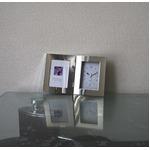 【時計付フォトフレーム】鏡のような光沢感 高級感あるフォトフレーム ■シルバーWフォトフレーム時計付(L版)