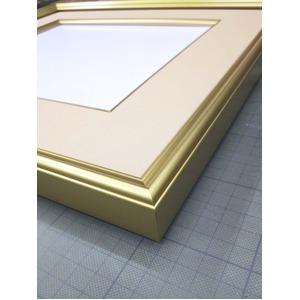 【高級色紙額】金色フレームに布マット 色紙用273×243 色紙額ベージュ■高級色紙(マット付き)273×243mm