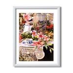 マリリン・シマンドル絵画額■白いフレーム・花の絵・風景画「ソングバード」