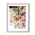 マリリン・シマンドル絵画額■白いフレーム・花の絵・風景画「サマーパレット」