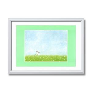 白いフレーム・優しい絵・風景画【心温まる癒しの空間】葉祥明アート額 「結婚式」