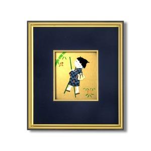 【押絵色紙額】黒い縁に金色フレーム 色紙用 壁掛けひも ■黒金 1/4色紙(押絵付き)136×121mm 紺