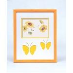 蝶々の額 黄色い額 ■いわさきちひろアート額 「海辺のひまわりと少女と子犬」