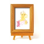 いわさきちひろ 心温まるナチュラル木製フォトフレーム イーゼル付き (ピンクのウサギと赤ちゃん)