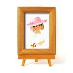 いわさきちひろ 心温まるナチュラル木製フォトフレーム イーゼル付き (ピンクの帽子)