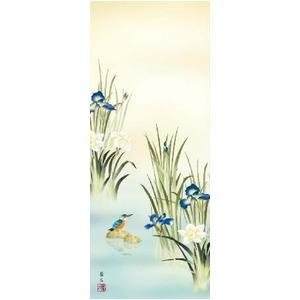 【花鳥掛軸】【渓流の宝石】カワセミの掛軸 (尺三)掛軸 菖蒲にかわせみ