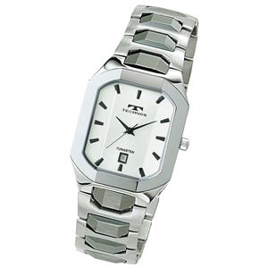 テクノス スクエアタングステン腕時計 シルバー色 - 拡大画像