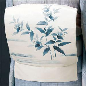 正絹手描き染め名古屋帯(仕立上り) 白(草花)