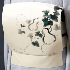 正絹手描き染め名古屋帯(仕立上り) クリーム(ひょうたん)