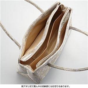 たっぷり入る桐生織バッグ・草履セット(フリンジ付) 銀地 L(24.0〜24.5cm)