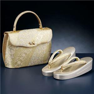 留袖用桐生織かぶせ型バッグ・草履セット 金地 M(22.5〜23.5cm)