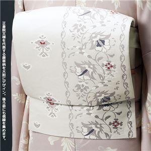 正絹西陣織軽装帯 白系 二重太鼓