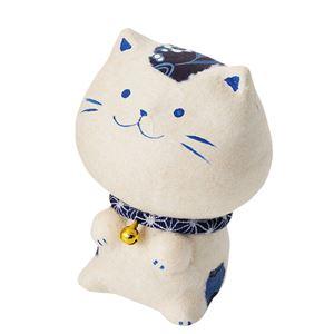 ちぎり和紙幸せ多良福ねこ(藍) 藍猫 小