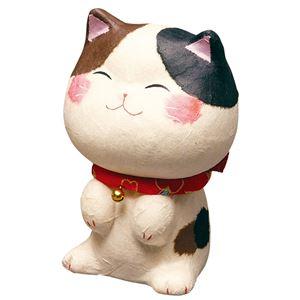 ちぎり和紙幸せ多良福ねこ 三毛猫 大