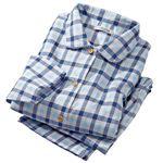 日本製2重ガーゼのやわらかパジャマ 【ブルー L : L】