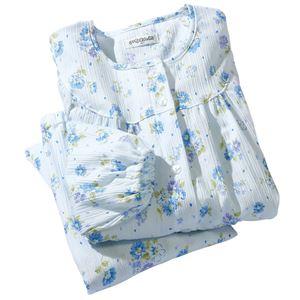 日本製楊柳ゆったりパジャマ 【サックス M : M】 h01