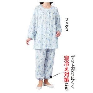 日本製楊柳ゆったりパジャマ 【サックス M : M】 h03
