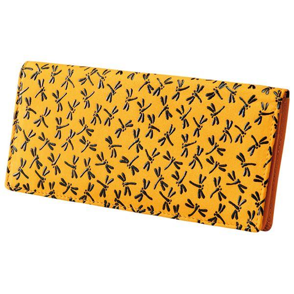 鹿革印傳本漆トンボ長財布(小がま口付) 【黄色】f00
