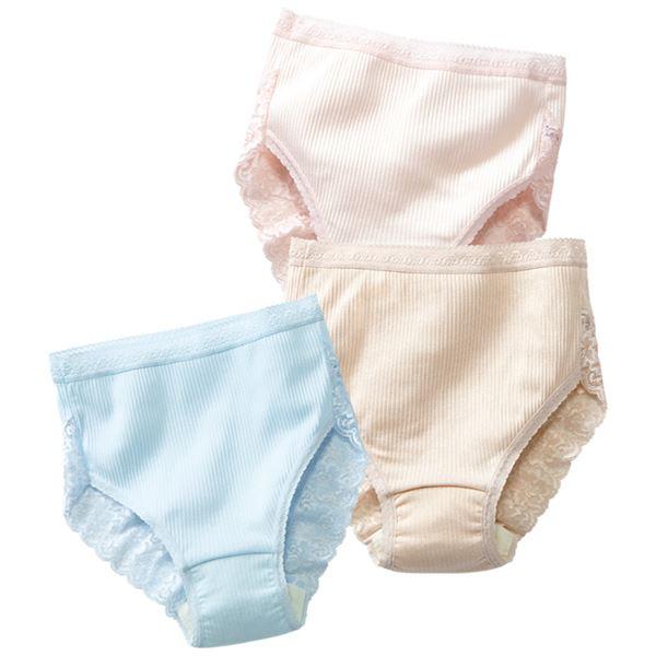 日本製肌ざわりいい綿100%安心ショーツ3色組 【L : L】f00