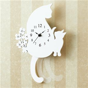おしゃれネコの振り子時計 【シロネコ】 - 拡大画像