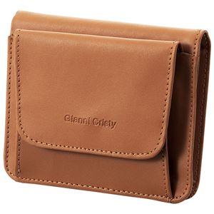 小銭も見やすい小さい牛床革財布 ブラウン