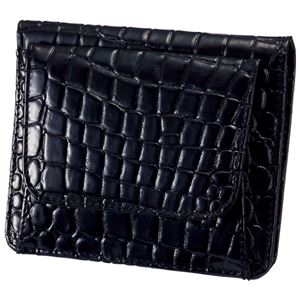 小銭も見やすい小さい牛床革財布 型押ブラック