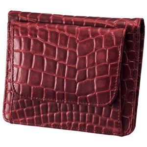 小銭も見やすい小さい牛床革財布 型押レッド h01