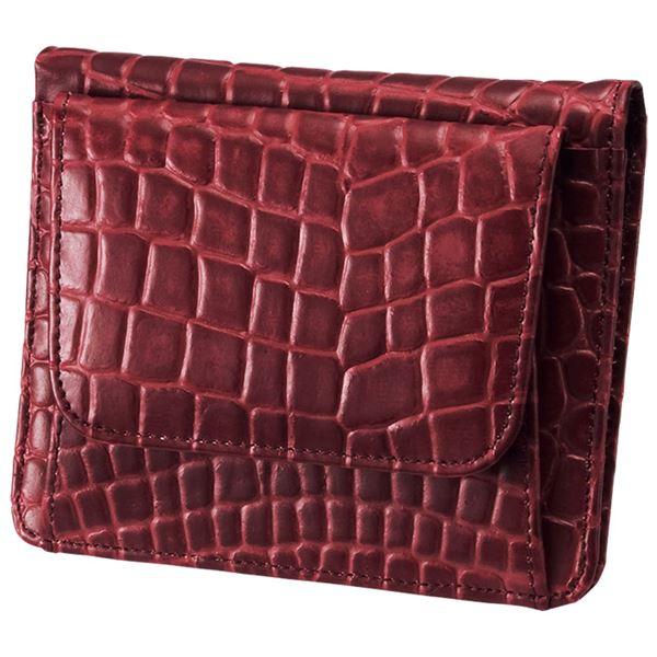 小銭も見やすい小さい牛床革財布 型押レッドf00