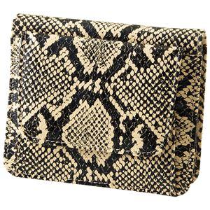 小銭も見やすい小さい牛床革財布 型押ヘビ柄 h01