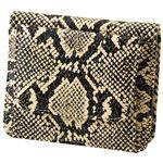 小銭も見やすい小さい牛床革財布 型押ヘビ柄