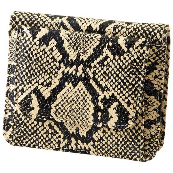 小銭も見やすい小さい牛床革財布 型押ヘビ柄f00
