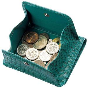 小銭も見やすい小さい牛床革財布 型押ヘビ柄 h03