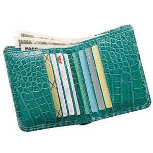 小銭も見やすい小さい牛床革財布 型押ヘビ柄 f04