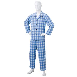 きほんのパジャマ(寝巻き) 【紳士用 M】 綿100% マジックテープ付き ズボン/前開き (介護用品) ブルー(青) - 拡大画像