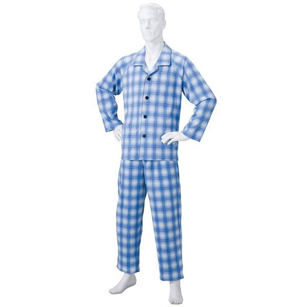 きほんのパジャマ(寝巻き) 【紳士用 M】 綿100% マジックテープ付き ズボン/前開き (介護用品) ブルー(青)f00