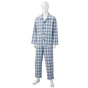 きほんのパジャマ(寝巻き) 【紳士用 M】 綿100% マジックテープ付き ズボン/前開き [介護用品] グレー(灰)