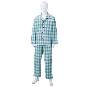 きほんのパジャマ(寝巻き) 【紳士用 L】 綿100% マジックテープ付き ズボン/前開き (介護用品) グリーン(緑)