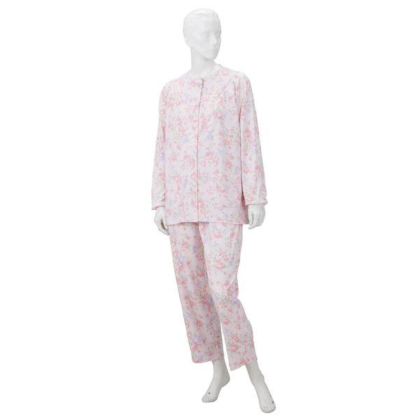 きほんのパジャマ(寝巻き) 【婦人用 L】 綿100% マジックテープ付き ズボン/前開き (介護用品) ピンクf00